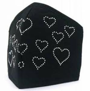 Zwarte dames mondkapje hartjes strass steentjes