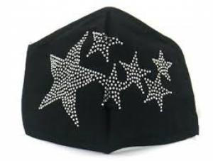 Zwart dames mondkapje grote ster en sterretjes strass steentjes