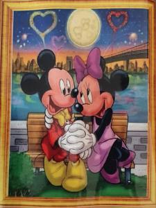 Diamond Painting Mickey en Minnie Love op bankje 30 x 40 cm