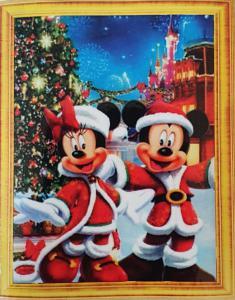 Diamond Painting Mickey en Minnie bij de kerstboom 40 x 50 cm