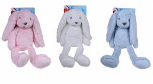 Pluche knuffel konijn in drie verschillende kleuren