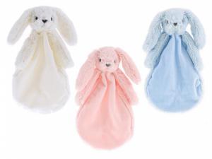 Pluche knuffeldoekje konijn - in drie verschillende kleuren.