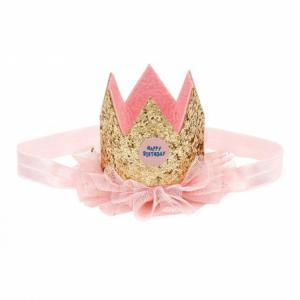 Souza Happy Birthday kroon met elastiek roze