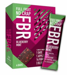 Fruitbar Blueberry Mint 92 Kcal per reep.