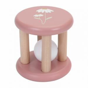 Houten rammelaar wild flower roze - Little Duth