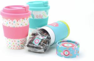 Thee - Tea to go - Reisbeker met 10 theezakjes - 3 verschillende smaken met een blauwe of roze beker