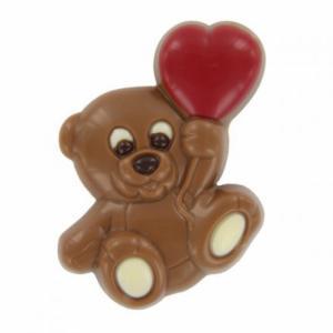 Chocolade teddybeer met rood ballonhart (melk) - 15gr prijs is per stuk