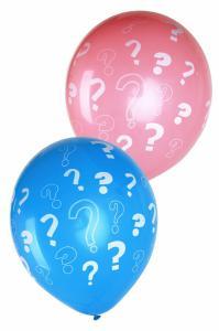 Ballon blauw en roze met vraagtekens 8-stuks