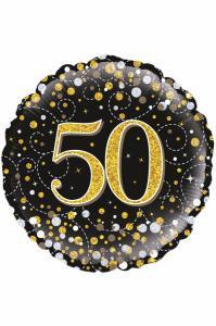 Folie ballon 50 jaar zwart/goud/zilver holografisch 18 inch per 1