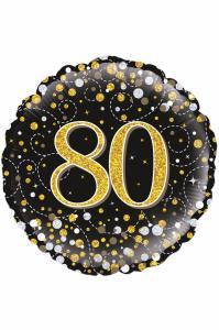 Folie ballon 80 jaar zwart/goud/zilver holografisch 18 inch per 1