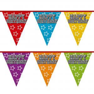 Vlaggenlijn Happy Birthday Holografisch