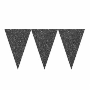 Vlaggenlijn zwart glitter 6 meter