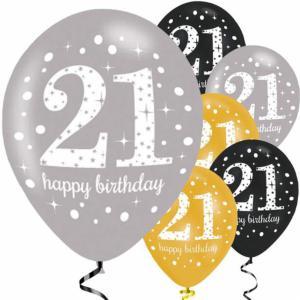Verjaardag latex ballonnen 18 glitter goud-27cm-6 stuks