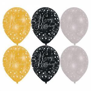 Ballonnen Happy Birthday goud, zilver en zwart 6-stuks (27cm)