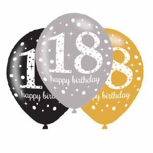 Verjaardag latex ballonnen 18 glitter goud-27cm-6 stuks (27cm)