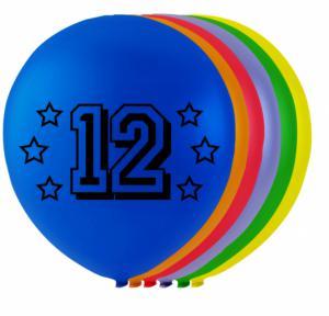 Ballonnen cijfer 12 - 8 stuks 26cm