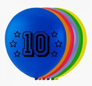 Ballonnen cijfer 10 - 8 stuks 26cm