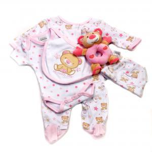 Baby pakje 5-delig met speeltje 3 - 6 mnd roze/wit