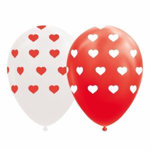 Ballonnen - Rode en witte ballonnen met hartjes - 8 stuks, 30cm
