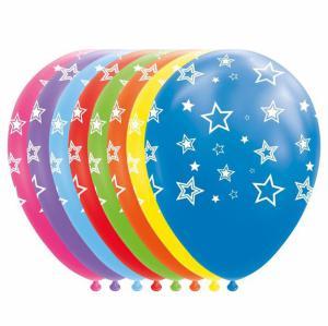 Ballonnen - Diverse kleuren ballonnen met witte sterren - 8 stuks, 30cm