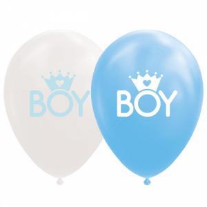 Ballonnen - Witte en blauwe ballonnen, tekst BOY met een kroontje - 8 stuks, 30cm
