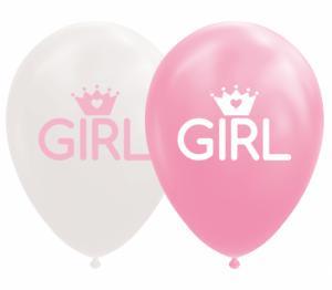 Ballonnen - Witte en roze ballonnen, tekst GIRL met een kroontje - 8 stuks, 30cm