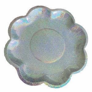 Kartonnen bordjes Holografisch zilver bloem Ø26cm