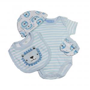 Baby pakje 5-delig blauw/wit maat leeuw 50/56