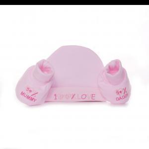 Soft Touch mutsje en slofjes roze 100% love