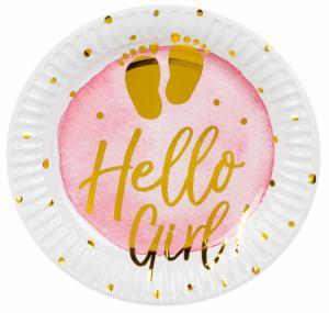 Bordjes met tekst hello Girl 6-stuks