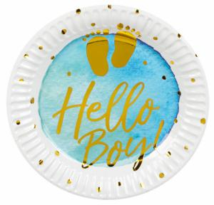 Bordjes met tekst hello Boy 6-stuks