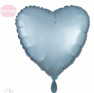 Folieballon - Pastel blauw hart (mat metallic) - 43 cm / 17 inch