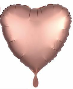 Folieballon - Rose gouden hart (mat metallic) - 43 cm / 17 inch
