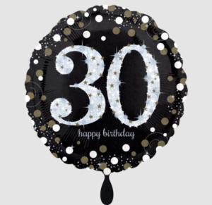 Folieballon - 30 jaar zwart met zilver en goud - 45 cm / 18 inch
