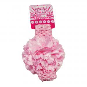 Soft Touch baby haarbandje soft touch met grote bloem kleur roze