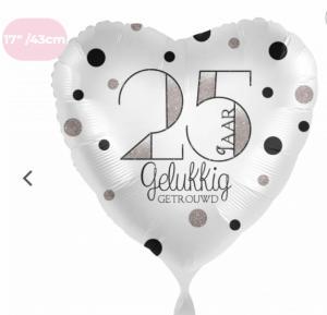 Folieballon - Zilver 25 jaar Gelukkig getrouwd Van Harte - 43 cm / 17 inch