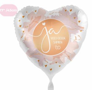 Folieballon - Getrouwd, JA Veel geluk samen - 43 cm / 17 inch