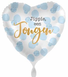 Folieballon - Jippie, een jongen  - 43 cm / 17 inch