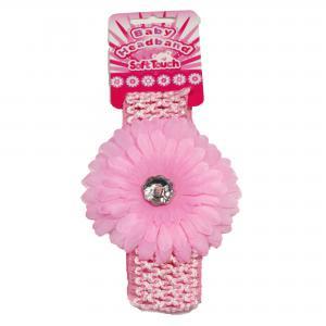 Soft Touch baby haarbandje met  een grote roze bloem met zilveren steen