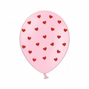 Ballon - Roze ballon met rode hartjes - 30 cm