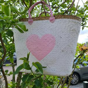 Strandtas - Hart roze/lila