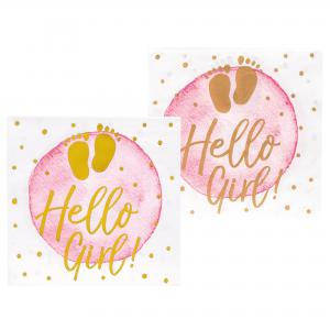 Servetten roze-goud baby 12-stuks