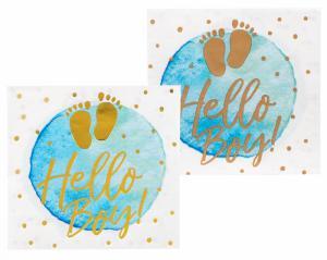 Servetten blauw-goud baby 12-stuks