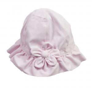 Meisjes hoedje roze met grote bloem - Maat 12-18 mnd