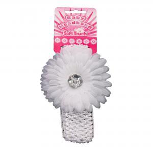 Soft Touch baby haarbandje, grote witte bloem en zilveren plastic diamant