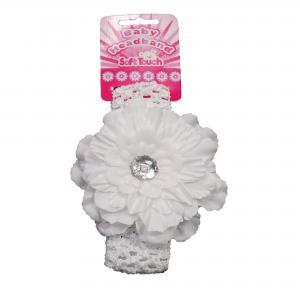 Soft Touch baby haarbandje wit met grote bloem