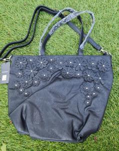Kunstleren handtas/shopper met bloem zwart