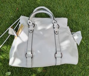 Kunstleren handtas met stikken wit