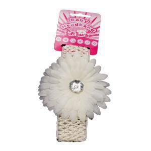 Soft Touch baby haarbandje met  roomkleur bloem en plastic diamant