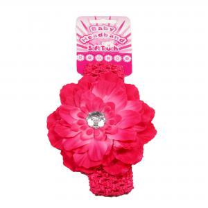 Soft Touch baby haarbandje met donker roze bloem en zilver plastic diamant
